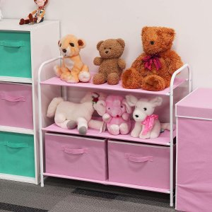 Simple Houseware 3-Tier Closet Storage with 2 Drawers, Pink