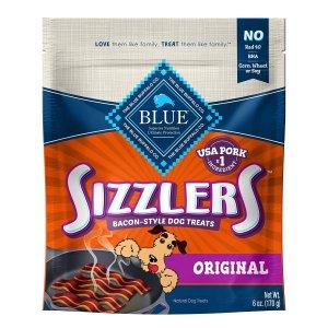 Blue Buffalo Sizzlers Natural Bacon-Style Soft-Moist Dog Treats, Original Pork 6 Oz