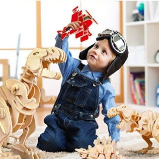 As low as $15.59Amazon ROBOTIME Walking Trex Dinosaur 3D Wooden Craft Kit Puzzle for Kids,Sound Control