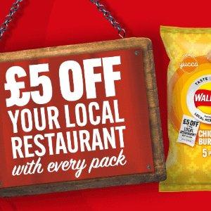 全英3000多家餐厅 满£25减£5Walkers 买多款口味薯片促销包 即获赠餐厅消费券