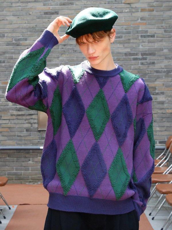 复古菱格毛衣