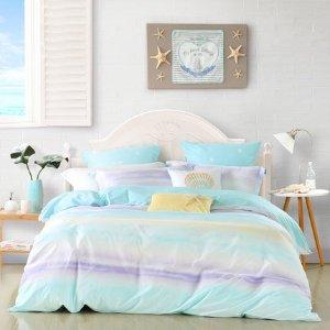 【自营】MERCURY/水星家纺全棉四件套简约被套床单床笠云淡风轻