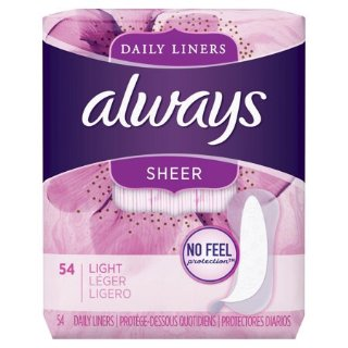 $2.69Always Sheer Daily Liners, Unscented, Wrapped, Light, 108 Count