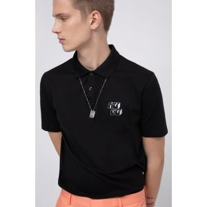 Hugo Boss$50 Off $250Pique-cotton polo shirt with reflective cubistic logo