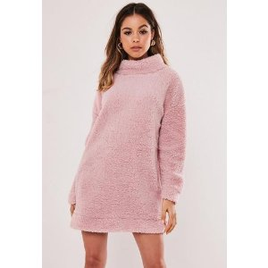 Missguided- Pink Borg Teddy High Neck Sweater Dress