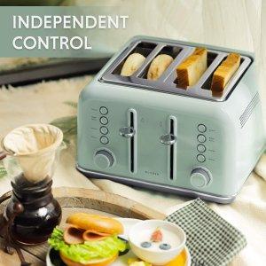 闪购:Buydeem 北鼎高颜值小清新薄荷绿4片式烤面包机