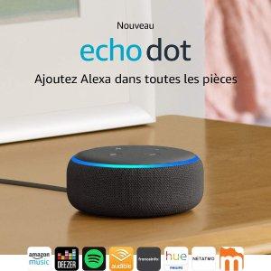 8折 仅€39.99 超小体积Echo Dot 第3代智能音箱 播放音乐、设定闹钟等功能强大