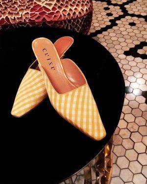 Lovro silk calfskin mules - yellow/white– Cuixu