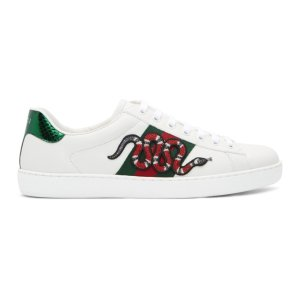 $525 (Org. $670)Gucci White Snake Ace Sneakers @ ssense