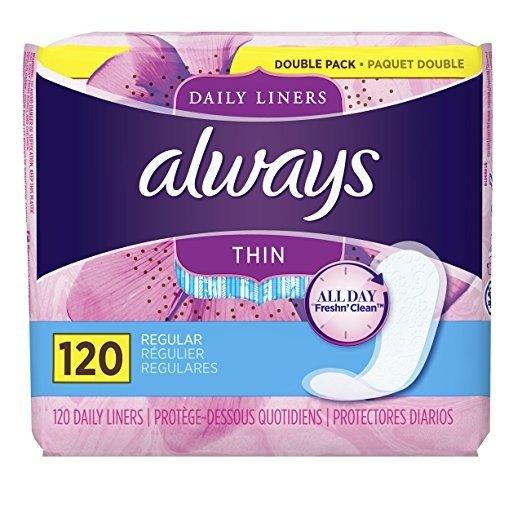 Always Thin Dailies 超薄持久干爽护垫 120片 新包装