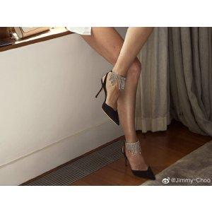 Jimmy Choo36码以上,超仙哟Birtie 85mm 流苏钻高跟鞋