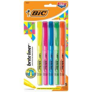 BiC买2件减$5后免费入5色荧光笔