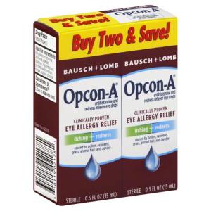 $5.49 包邮 1瓶仅$2.75 过敏季必备Bausch & Lomb 博士伦 舒缓敏感症状眼药水 15ml x 2瓶