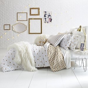 As Low As $23.99 Glam Polka Dot Reversible Twin/Twin XL Comforter Set in Gold