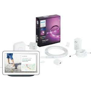 Philips Hue White and Color Ambiance Lightstrip Starter Kit + Google Nest Hub