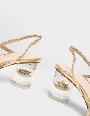 Gold Metallic Asymmetric Strap Lucite Heel Sandals | CHARLES & KEITH US