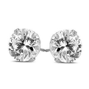 Szul1克拉钻石14k白金耳钉