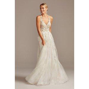 Davids BridalFloral Applique Open Back Tulle Wedding Dress