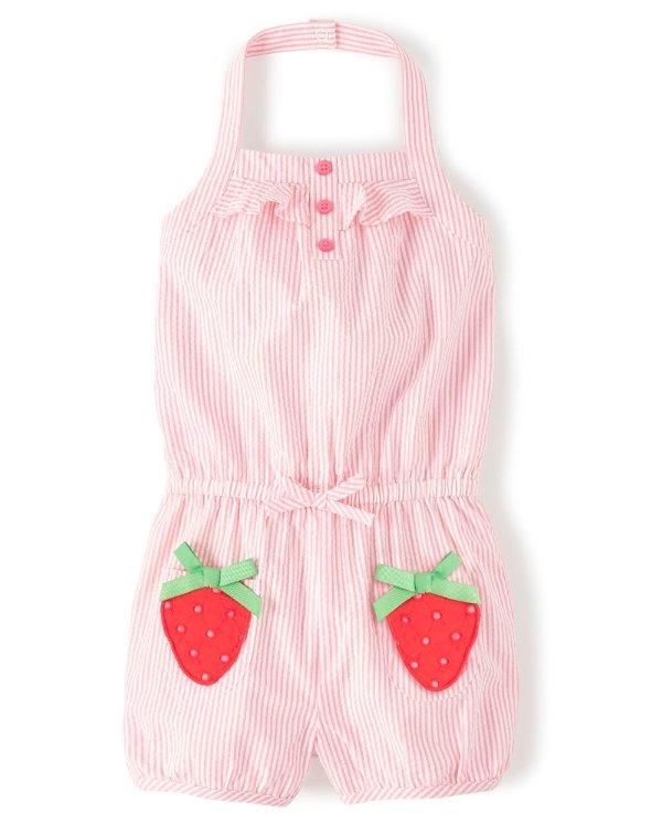 粉色草莓条连体裤