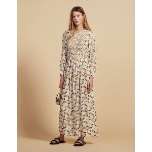 SandroLong Floaty Dress With Butterflies Print
