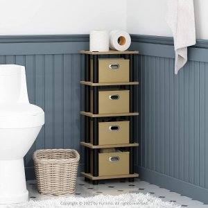Furinno 4格深棕色收纳架,百搭客厅卧室书房
