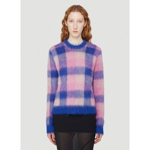 Acne StudiosChecked Tactile-Knit Sweater in Pink
