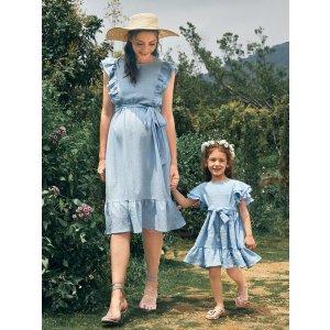 SHEIN10% off $29Toddler Girls 1PC Butterfly Sleeve Ruffle Hem Belted Dress