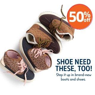 包邮+5折+满$40享额外8折 大童运动鞋$15.2/双折扣升级:OshKosh BGosh  新款童鞋等优惠 有0-14岁儿童码