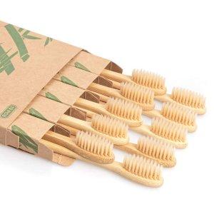 Daletu Bamboo Toothbrush, 10 PCS Biodegradable Wooden Toothbrushes