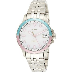 Fossil少女心满满粉蓝色手表