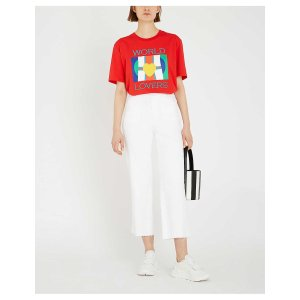 SandroWorld Lovers-print cotton-jersey T-shirt