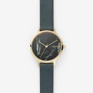 SkagenAnita Green Leather Stone Watch