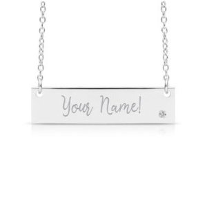 $39.97+Free engravingDealmoon Exclusive: SuperJeweler Sterling Silver Diamond Accent Bar Necklace