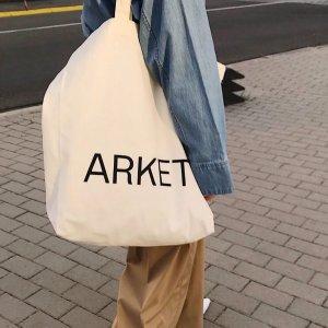 arket100%纯棉!logo帆布包