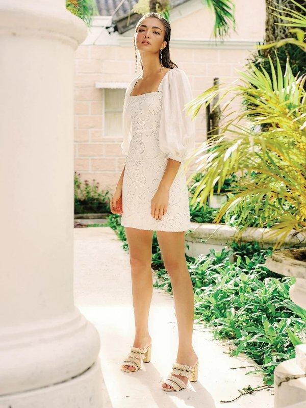 AZULU 白色方领连衣裙