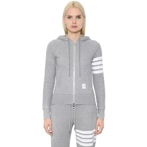 Thom BrowneINTARSIA COTTON JERSEY ZIP-UP SWEATSHIRT