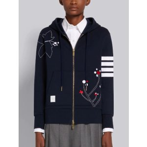 Thom BrowneNavy Cotton Classic Loopback Floral Embroidered Zip-up 4-Bar Hoodie | Thom Browne Official