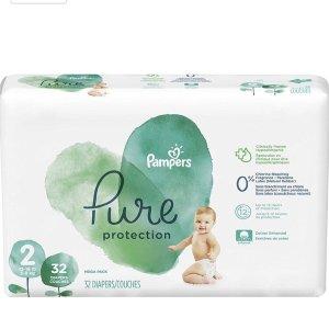 立减$3, 仅$8.39/包Pampers Pure Protection 婴儿尿布优惠,尺寸NB-5可选