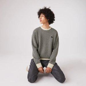 Lacoste圆领纯羊毛毛衣