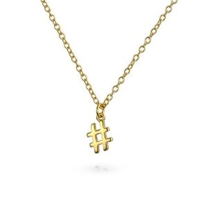 BLING JEWELRYTiny Hashtag # Dangling Pendant Charm Necklace For Women For Girlfriend For Teens 14K Gold Plated 925 Sterling Silver