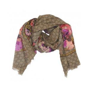 Gucci米色/粉红色GG花卉印花羊毛围巾