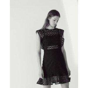 Lace dress with sheer effect
