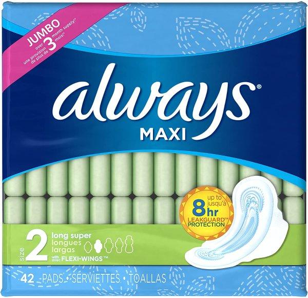 Maxi Size 2 无香超长护翼卫生巾,42片