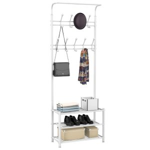 Easyfashion Metal Multipurpose Entryway Hall Tree with 3-Tier Shoe Rack, White