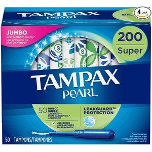 Tampax需点击$4优惠券并通过S&S结账Pearl 大流量棉条 200支