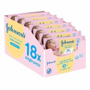 £8.99(原价£18)Johnson's 柔软无香婴儿湿纸巾 18盒