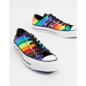 Converse36.5/39.5/42/47/48码彩虹条低帮帆布鞋