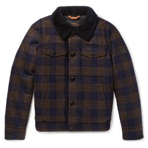 Tod's- Shearling-Lined Checked Wool Bomber Jacket