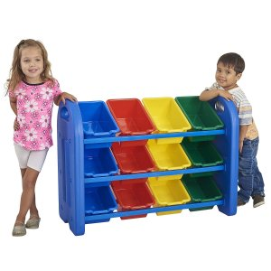 $47ECR4Kids 3Tier Toy Storage Organizer for Kids, Blue with 12 Assorted Color Bins