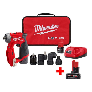 Milwaukee M12 FUEL 12-Volt Lithium-Ion Brushless Cordless 4-in-1 Interchangeable 3/8 in. Drill Driver Kit